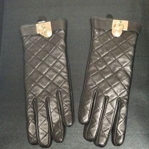 Michael Kors black leather gloves